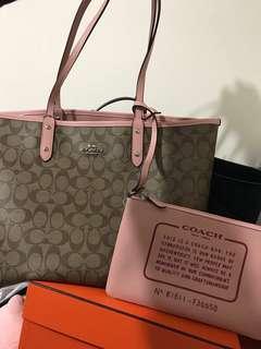 Coach 全新正貨 雙面粉紅色大手袋