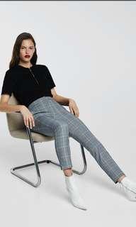 Grey Plaid Check Pants