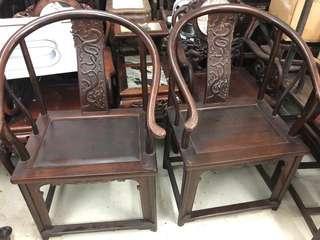 雞翅木圈椅1對