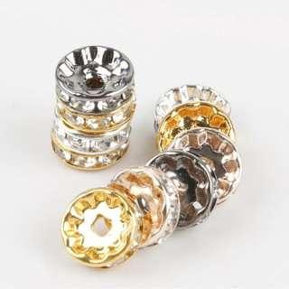50pcs Rhinestone Spacer Beads 6mm
