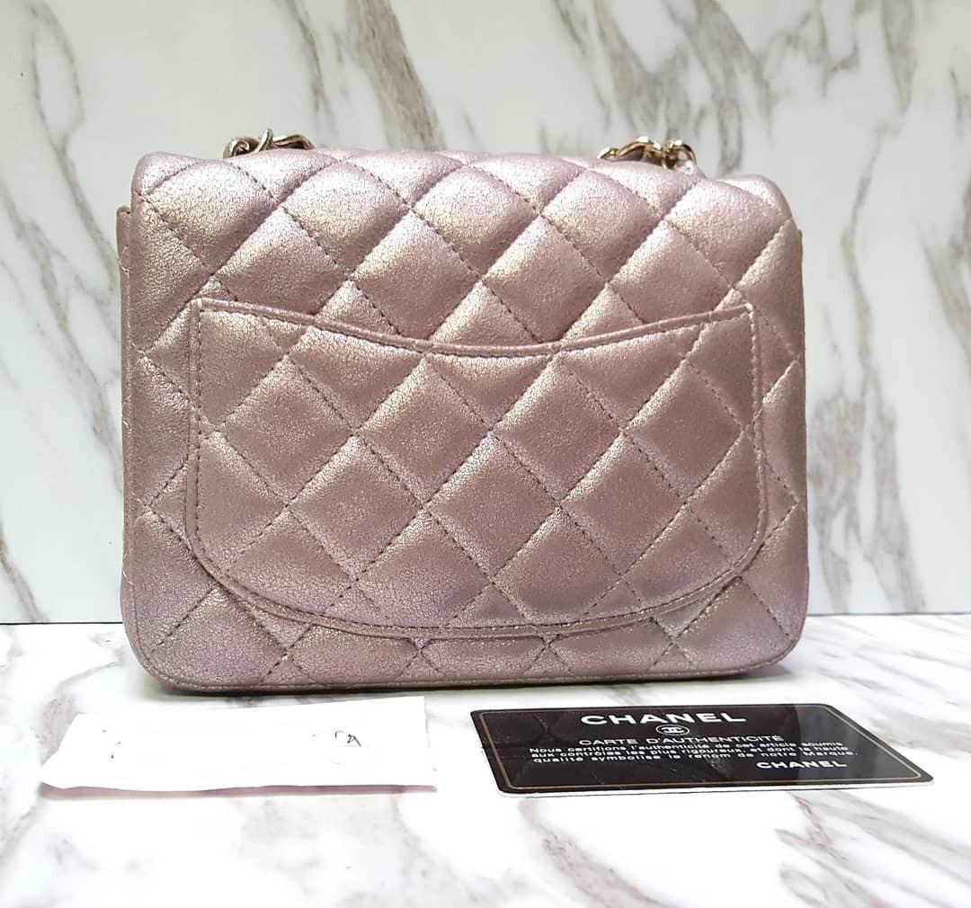 [100% AUTH] CHANEL Rose Gold Square Mini bag