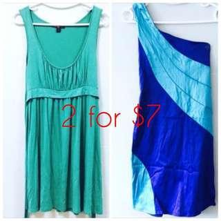 2 for $7 F21 green dress + Blue toga dress