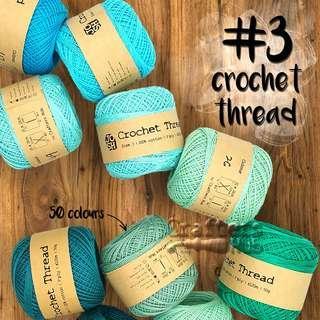 🚚 Size 3 crochet thread (Blue Green)/ crochet yarn / line / string / DIY / craft / handmade / accessories / tassel / lace / embroidery / string art / needlepoint / edge stitching / sashiko / big stitch quilting / friendship band / loom knit