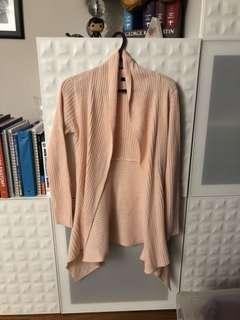 Pink knit long cardigan small, fits medium