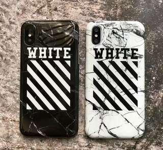 Off white 大理石花紋雲石紋斜紋全包手機軟殼 Apple iPhone case