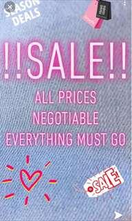 SALE! ALL ITEMS NEGOTIABLE!!!