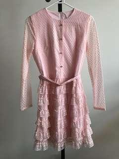 Baby pink sheer lace long sleeves belt dress