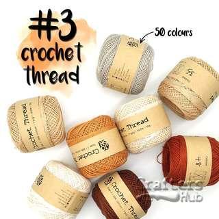 🚚 Size 3 crochet thread (Black White Brown Purple)/ crochet yarn / line / string / DIY / craft / handmade / accessories / tassel / lace / embroidery / string art / needlepoint / edge stitching / sashiko / big stitch quilting / friendship band / loom knit