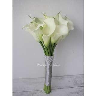 Fresh Calla Bridal Bouquet with Diamante (Wedding / ROM/ Bridesmaid / Proposal/ Anniversary /Engagement )
