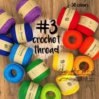 🚚 Size 3 crochet thread (Red, Orange, Yellow & Pink)/ crochet yarn / line / string / DIY / craft / handmade / accessories / tassel / lace / embroidery / string art / needlepoint / edge stitching / sashiko / big stitch quilting / friendship band / loom knit