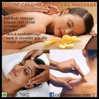 House Call Traditional Massage - Ladies Only