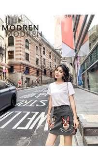 Two-piece Kawaii T-shirt and Cutie Dog Skirt