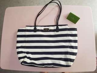 Authentic Kate Spade Navy and white stripe shoulder Bag