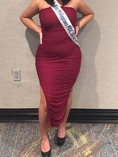Fashion Nova Burgundy Bodycon