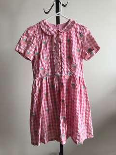Pink checked strawberry babydoll dress