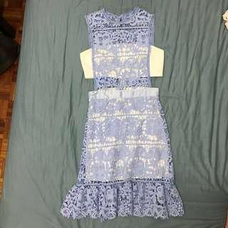 Romantic lace dress in pastel blue