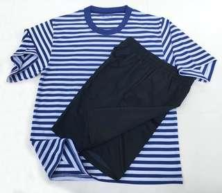 Blue & White Striped Tee with Navy Blue Shorts