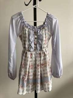 Japan Liz Lisa blue chiffon floral matching top and skort set