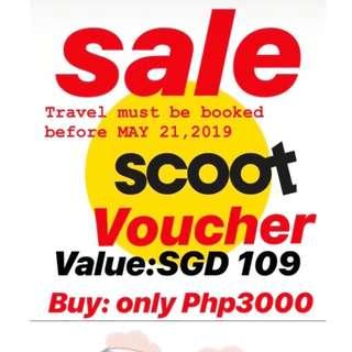 Scoot Travel Voucher worth SGD 109 for only P3,000