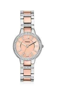Authentic Fossil watch, two tone stainless steel, with crystal embellishments