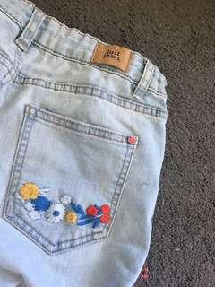 JUST JEANS flower embroidered jeans