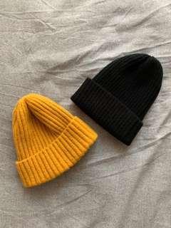 姜黃色/黑色毛帽 Yellow/Black beanies