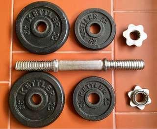 Kettler Cast Iron Dumbbell Set 10kg (free Ab Roller)