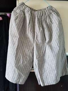 灰間七分闊腳褲