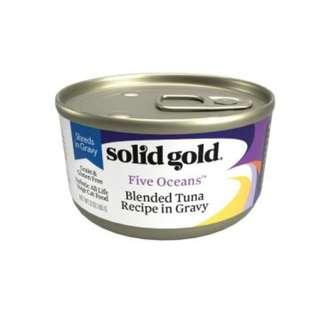Solid Gold Cat Can – Five Oceans Blended Tuna in Gravy 6oz