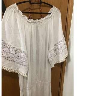 Brazilian White Off Shoulder Cotton Maxi Dress - Beach Wear