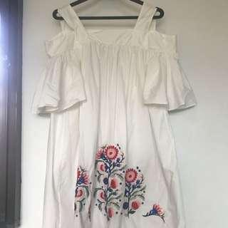 Embroidered Off Shoulder Cotton Dress BNWT