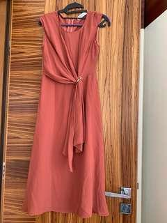 Pink Wrap dress 長身裙  上班連身裙