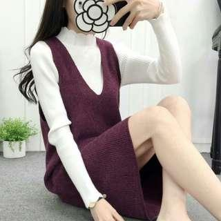 Maroon Pinafore jumper knit dress Korean fashion ( not including the white blouse) #APR75