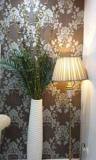Lamp Stand and Big Vase with Artificial Plants