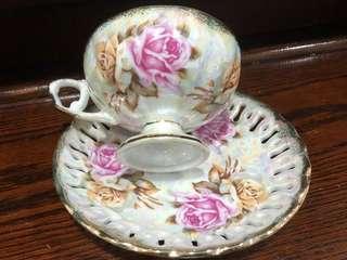 Vintage Lustre Victoria Rose Footed Teacup & Saucer with Gold Trim