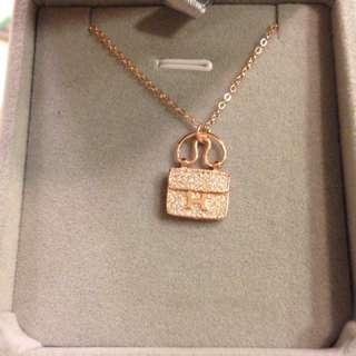🚚 《實拍》Hermes愛馬仕包包項鍊純18k玫瑰金黃金白金H滿鑽經典款項鍊鎖骨鏈女 厚電鍍18k金 愛瑪仕包包項鍊