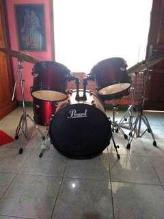 DRUM merk Pearl Maroon satu set