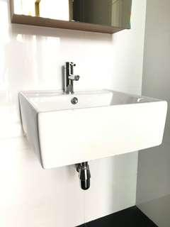 Bathroom basin sink porcelain and tap mixer