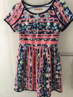 Pink Blue Floral Dress