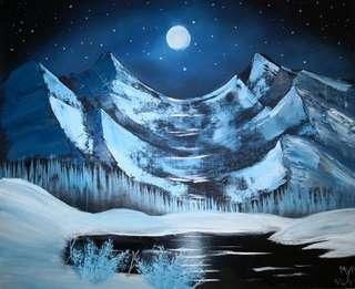 "Hand made oil painting ""moonlit night"""