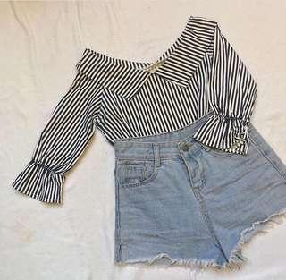 Stripes collared top