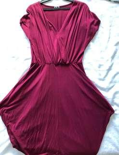 Maroon Overlap Dress