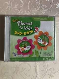 幼稚園教科書  全新New phonics for kids 3 DVD Rom 3 連   二手New phonics for kids 3 書,Pearson 出版,可用Easy pen