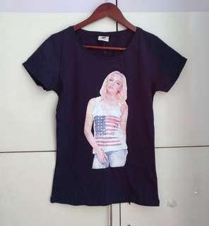 Cotton On Navy Blue Printed T-shirt [Large]