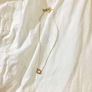🚚 💍金色圓形鎖骨頸鏈