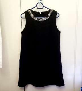 Apostrophe Little Black Dress with Pearls