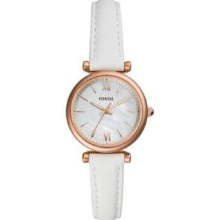 Fossil Carlie Mini Three-Hand White Leather Watch ES4582