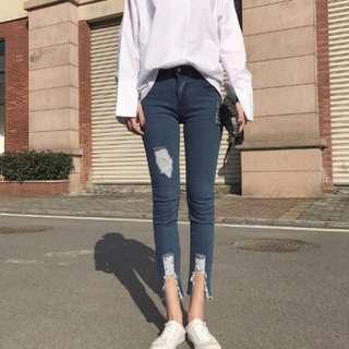 全新 韓版高腰刷破小腳褲 高腰牛仔褲 窄管褲