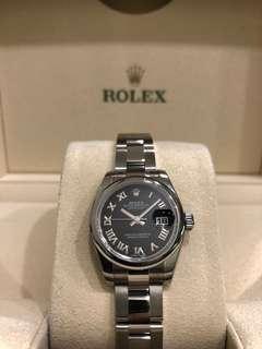 Rolex 179160 Lady-Datejust Steel Black Roman Dial **UNWORN**