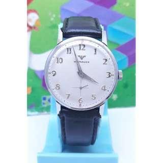 WITTNAUER詠雅華小秒針設計,原裝龍頭,不鏽鋼手動上鍊機械男錶